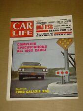 CAR LIFE MAGAZINE JANUARY 1962 FORD GALAXIE 390 DODGE LANCER GT