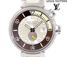 LOUIS VUITTON Tambour Diving Q103M SS Auto Wrist Watch Black White Auth Rare