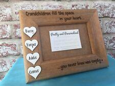 Personalised Family Photo Frame White Wooden Hearts Grandchildren Nanny Grandad