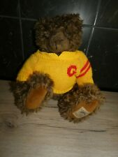 peluche doudou ours marron pull laine jaune 35 cm giorgio beverly hills 1997
