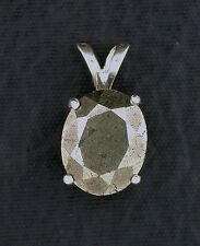 10x8 Oval Natural Faceted Pyrite Gemstone Gem Stone Sterling Pendant ebs5933