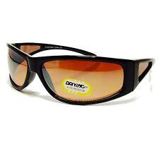 HD Ultra Vision Driving Sun Glasses BLACK Frame Baseball Golf WrapAround Glasses