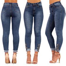 Womens High Waisted jeans Ladies Turn Up Hem Skinny fit Denim Size Uk 6-14