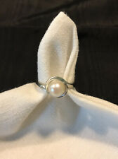 Genuine Pearl And 10K White Gold Vintage Ring, Size 5.5