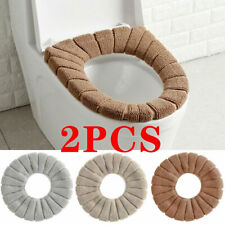 2Pcs Bathroom Toilet Seat Cover Soft Knitting Fabric Case Pad Winter Warm Mat