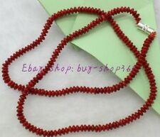 """Natural Pretty 2x4mm Rondelle Red Coral Gemstone Necklace 18"""" AAA"""