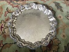 """English 16"""" Silverplate Footed Round Serving Platter, Marked"""