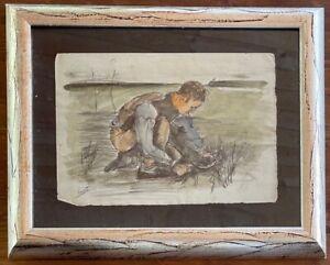 Original vintage art charcoal on paper!VINCENT VAN GOGH -  hand signed-framed!