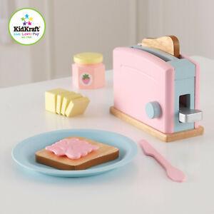 Kidkraft Pastel Wooden toaster set   Wooden Toaster Bread, Plastic Plate Jam