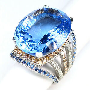 TOPAZ SWISS BLUE CONCAVE OVAL 30.80CT.SAPPHIRE 925 STERLING SILVER RING SZ 5.75