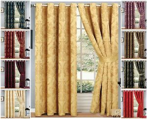 Ring Top Curtains Jacquard Fully Lined Ready Made Eyelet Curtain Pair 2 TieBacks