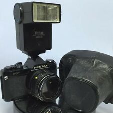 Pentax MV 35mm SLR Film Camera Body with 1:2  50mm Lens+ Filter+ Case+Flash TEST