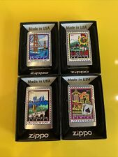 More details for full set zippo destination series - unstruck - san fran, french qtr, ny & vegas