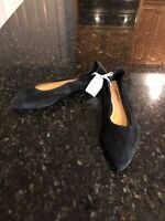 NEW $88 Anthropologie Suede Jessica Flats in BLACK Size US 9 New!
