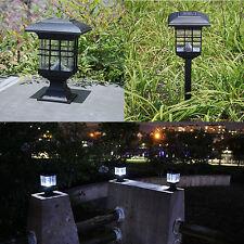 Solar powered LED Garden Yard Bollard Pillar Light Post Lamp Outdoor
