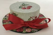 """Mary Engelbreit Hat Box Shaped Christmas Ornament Red Cherries & Bow 5"""" Across"""
