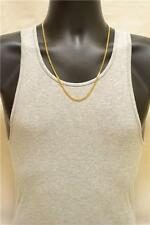 3mm Men's 24K Solid Gold Layered Miami Cuban Link Chain Necklace 24""