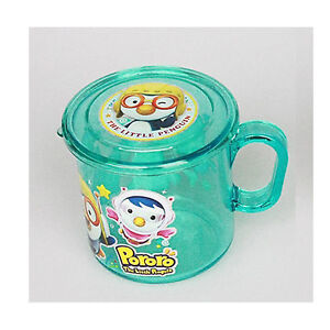 PORORO HANDLE LIDDED CUP/Green Color Transparent Lid Cup Kids Drink boy girl