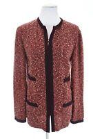 St. John Collection Tweed Boucle Knit Zip Sweater Knit Blazer Jacket Red Sz 12