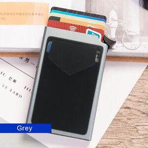 Slim Aluminum Pop Up RFID Card HolderElasticity Back Pouch Wallet Men Wallet