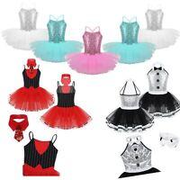 Girls Sequined Ballet Dance Dress Leotard Tutus Skirt Show Performing Dancewear