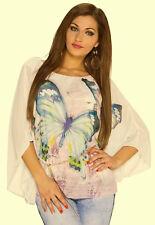 Chiffonshirt Kimonobluse 36-40 one size creme rosa butterfly Chiffon Bluse Shirt