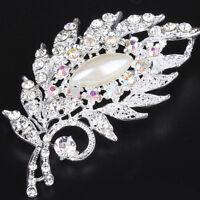 Fashion Leaves Flower Rhinestone Crystal Pearl Silver Brooch Wedding Bridal Pin