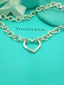 Tiffany & Co. LARGE Open Heart Clasp Pendant 18 inches Necklace in Silver