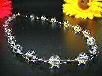 Schöne Edelsteinkette aus Bergkristall in Kugelform Ø-12 mm