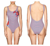 🆕ONIA Womens Kelly Floral Striped 1PC Swimsuit LARGE Red/White/Blue Beach🆕️