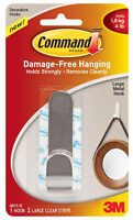 3M Command Large Metal Hook Damage Free Hanging Holds 4lb 1.8kg