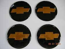 CHEVY CHEVROLET  WHEEL CENTER CAP EMBLEMS SET 4 ALUMINUM STICKER DECAL BLACK