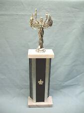 silver Victory trophy award metal column black velvet front marble base