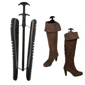 1 Pair Long Automatic Boot Shoe Trees Shapers Stretcher Stand Holder Black