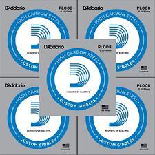 5 X D'Addario PL008 único Acero Cuerdas para Guitarra Acústica Eléctrica Calibre 8