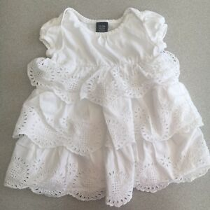 Baby Girls BabyGap White Frilly Dress, Excellent Condition, Age 6-12 Mths