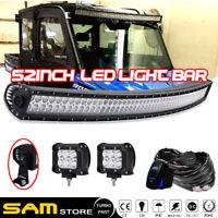 "52Inch Curved Led Light Bar+4"" Cube Pods Polaris Ranger RZR XP 900 1000 570"