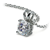 1.2Ct Diamond D/VVS1 Solitaire Pendant Necklace In 14K White Gold Over Sterling
