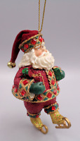 Vintage Resin Glitter Rhinestone Santa Claus Christmas Ornament Ice Skates