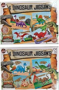54 Pcs 4 Dinosaurs Jigsaw Puzzle Game 2 Assorted Designs For Age 3+ Kids