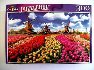 New Puzzlebug 300  Piece Jigsaw Puzzle (Traditional Dutch Windmills)