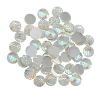 50pcs 12mm Round Mermaid Fishscale Flatback Resin Cabochons DIY Craft Sliver