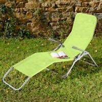 Bain de soleil en acier et textilene vert anis