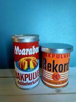 Alte Blechdosen Marabou Bakpulver + Rekord Bakpulver Old Tin Can