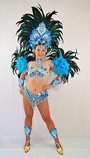 BRAZILIAN BLUE/SILVER SHOW GIRL SAMBA CABARET COSTUME bikini/CUSTOM MADE
