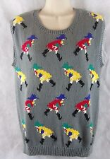 Hunters Run Gray Sweater Vest Woman's Size S Girl in Rain Gear  100% Cotton