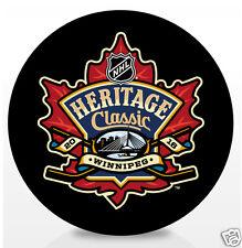 2016 NHL HERITAGE CLASSIC SOUVENIR HOCKEY PUCK WINNIPEG JETS vs EDMONTON OILERS