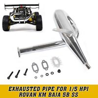 Metal Bilateral Side Exhausted Pipe For 1/5 Hpi Rovan Km Baja 5b ss Hotsale