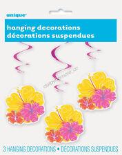 Hawaiian Luau Beach Pool Party Supplies 3 x Hanging Hibiscus Swirls Decoration
