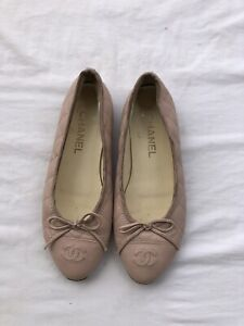Chanel Light Pink Quilted Leather CC Bow Ballet Flats Size 38
